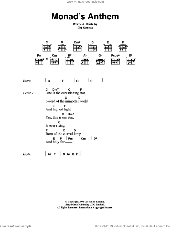 Monad's Anthem sheet music for guitar (chords) by Cat Stevens, intermediate. Score Image Preview.
