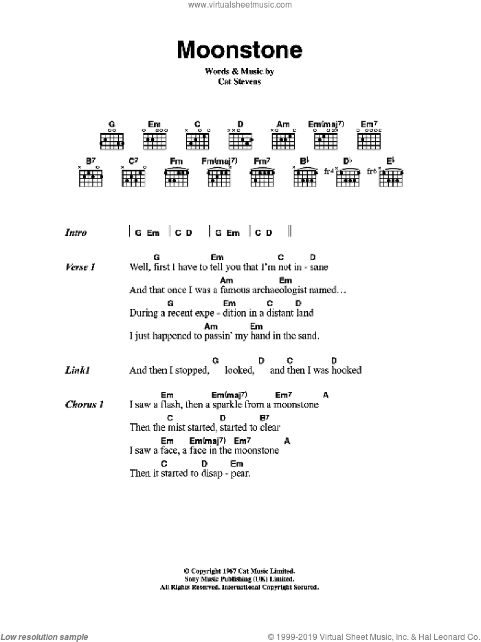 Moonstone sheet music for guitar (chords) by Cat Stevens, intermediate. Score Image Preview.