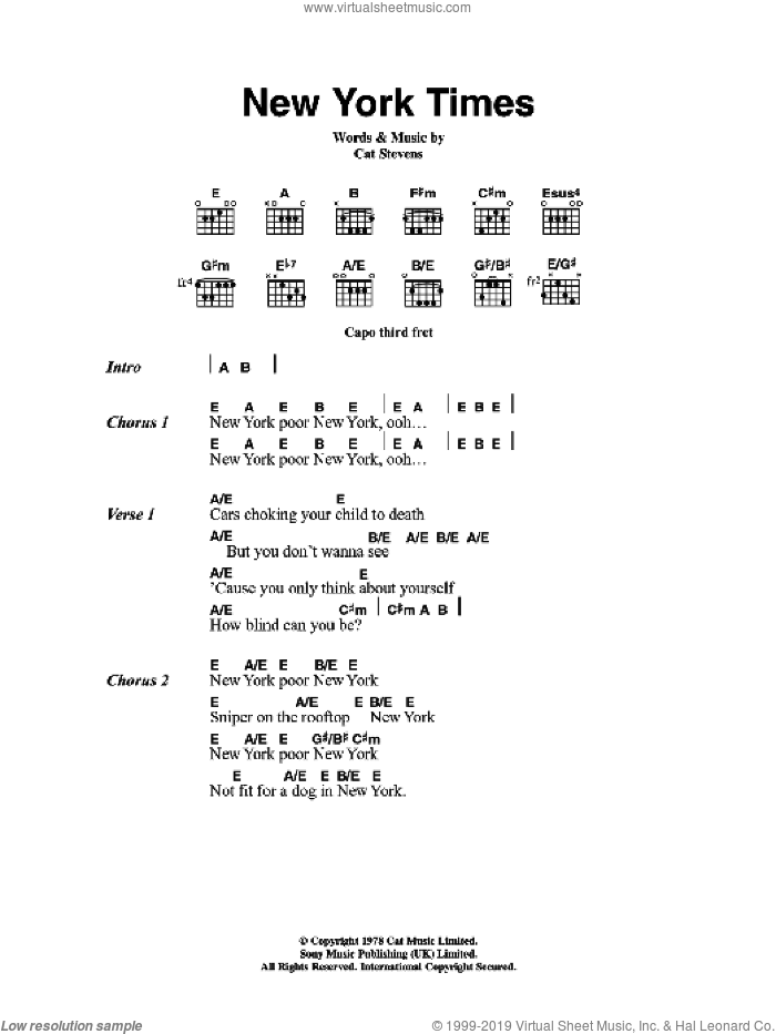 New York Times sheet music for guitar (chords) by Cat Stevens, intermediate