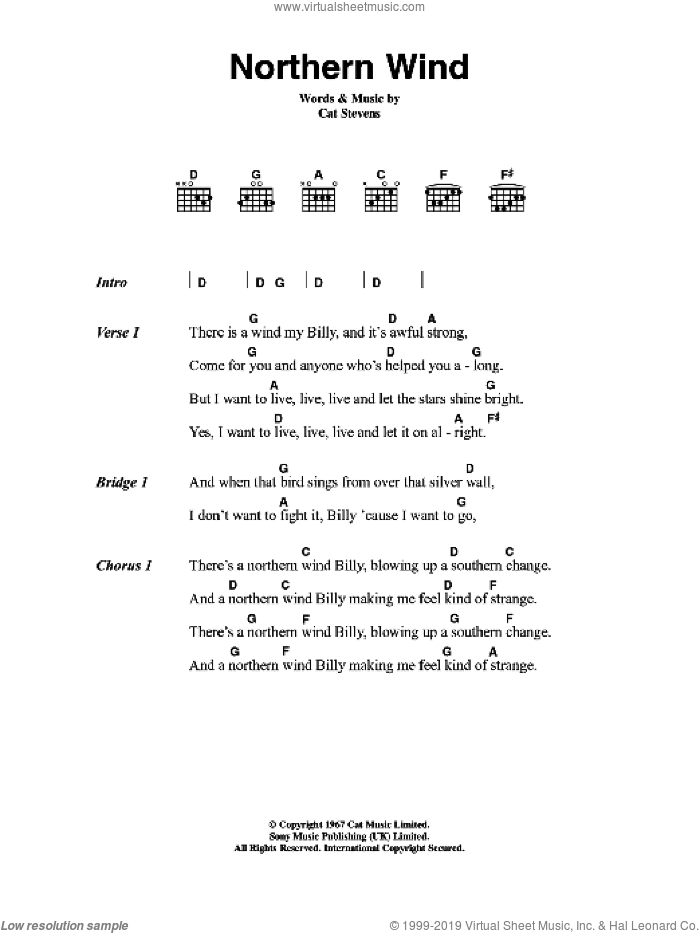 Stevens - Northern Wind sheet music for guitar (chords) [PDF]