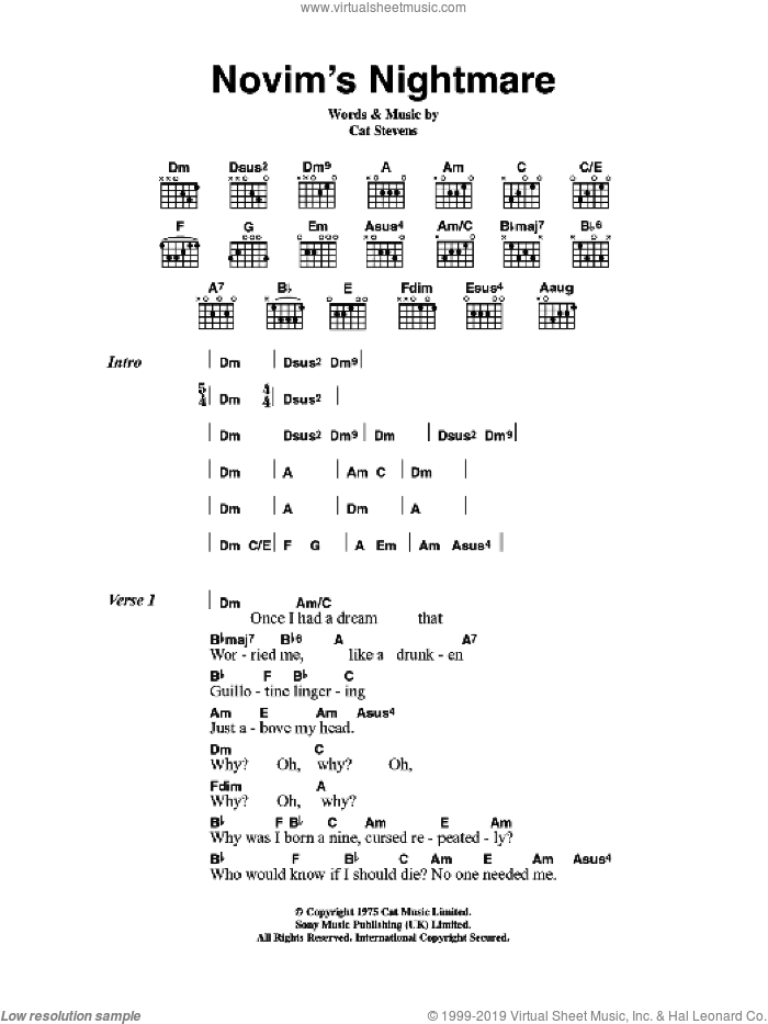 Stevens - Novim\'s Nightmare sheet music for guitar (chords) [PDF]
