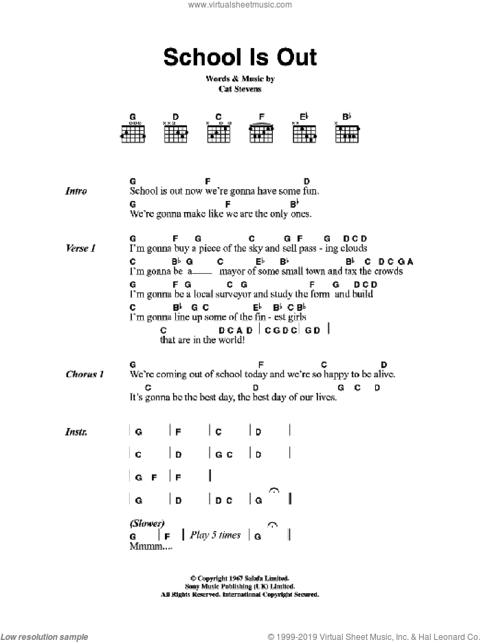 School Is Out sheet music for guitar (chords) by Cat Stevens. Score Image Preview.