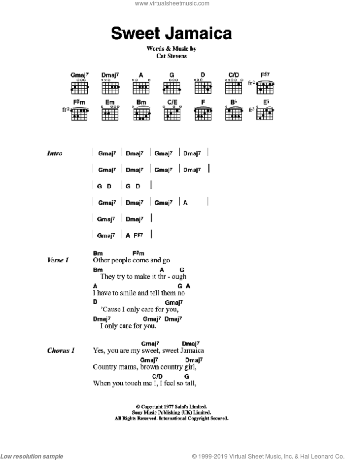 Sweet Jamaica sheet music for guitar (chords) by Cat Stevens. Score Image Preview.