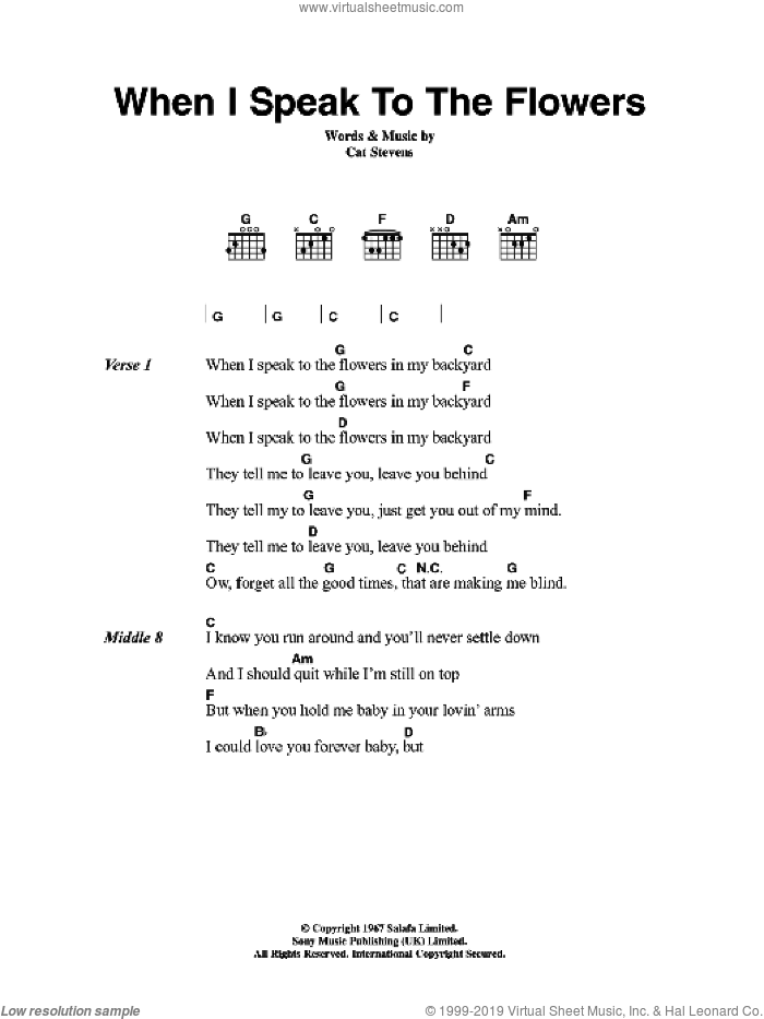 When I Speak To The Flowers sheet music for guitar (chords) by Cat Stevens. Score Image Preview.
