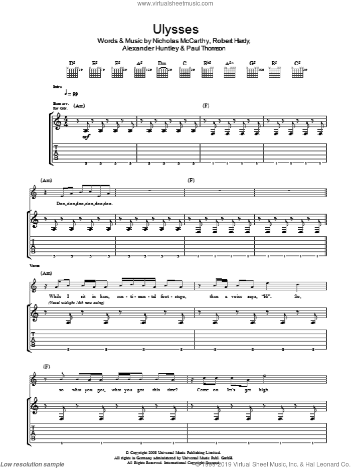 Ulysses sheet music for guitar (tablature) by Franz Ferdinand. Score Image Preview.