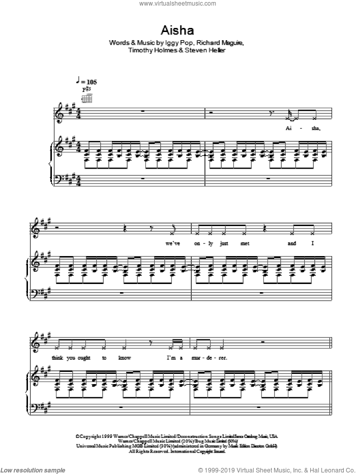 Aisha sheet music for voice, piano or guitar by Iggy Pop