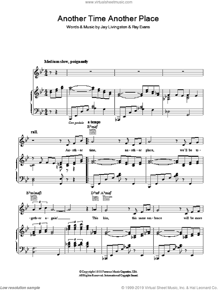 Another Time, Another Place sheet music for voice, piano or guitar by Jay Livingston
