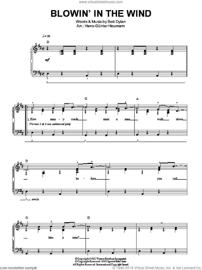 Blowin' In The Wind sheet music for piano solo by Bob Dylan and Peter, Paul & Mary, easy