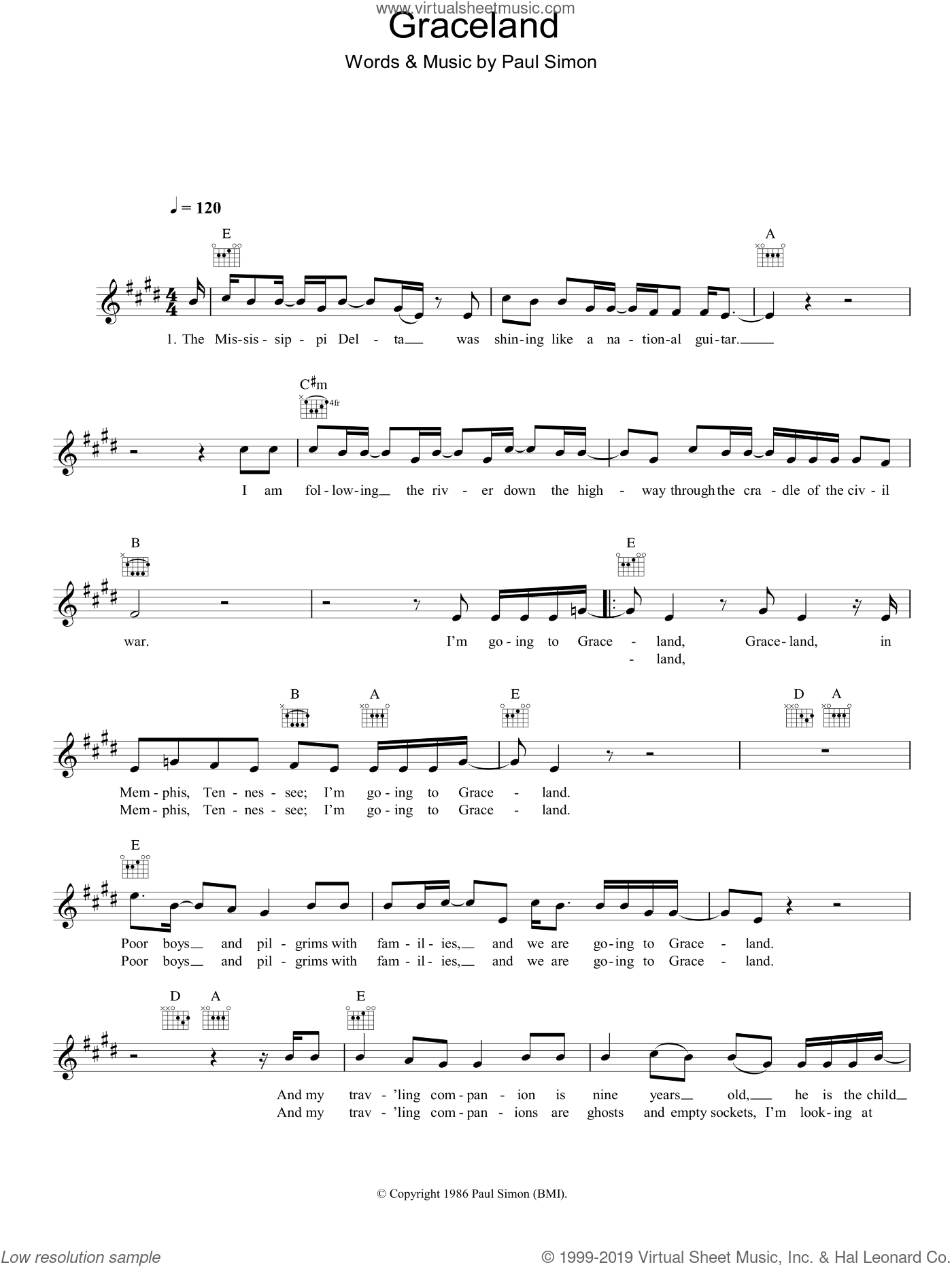 Graceland sheet music for voice and other instruments (fake book) by Paul Simon, intermediate voice. Score Image Preview.