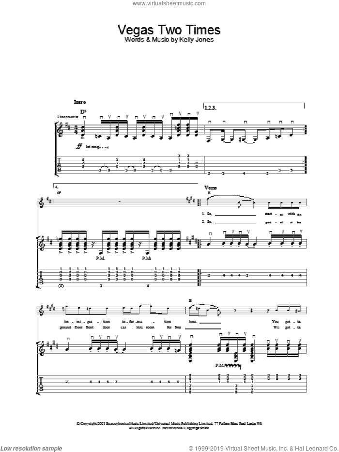 Vegas Two Times sheet music for voice, piano or guitar by Stereophonics