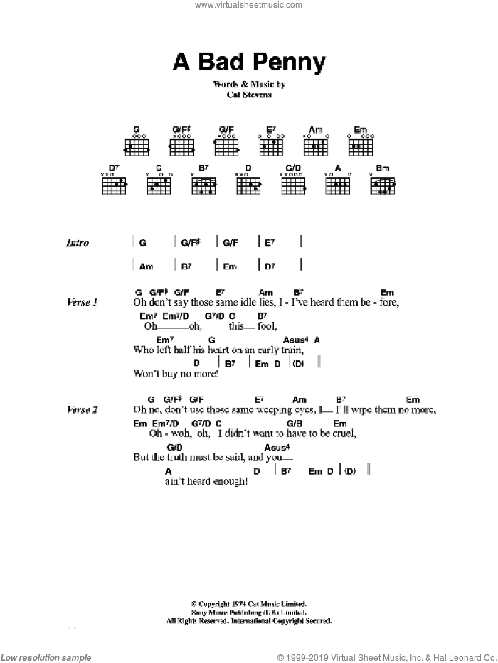 A Bad Penny sheet music for guitar (chords) by Cat Stevens. Score Image Preview.