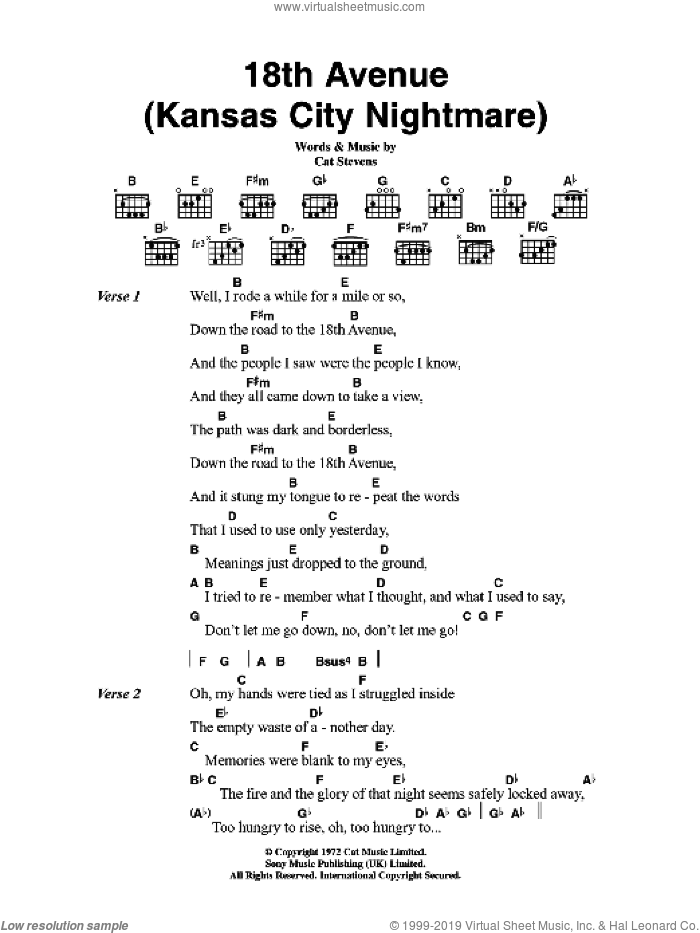 18th Avenue (Kansas City Nightmare) sheet music for guitar (chords) by Cat Stevens