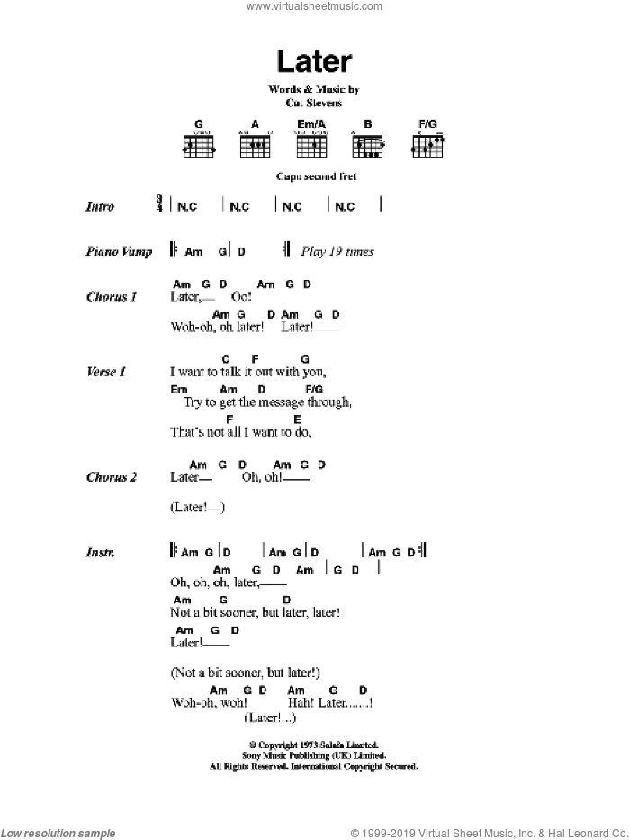 Later sheet music for guitar (chords) by Cat Stevens
