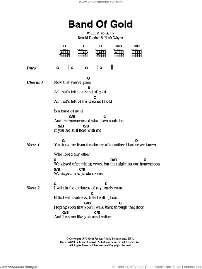 Payne - Band Of Gold sheet music for guitar (chords) [PDF]