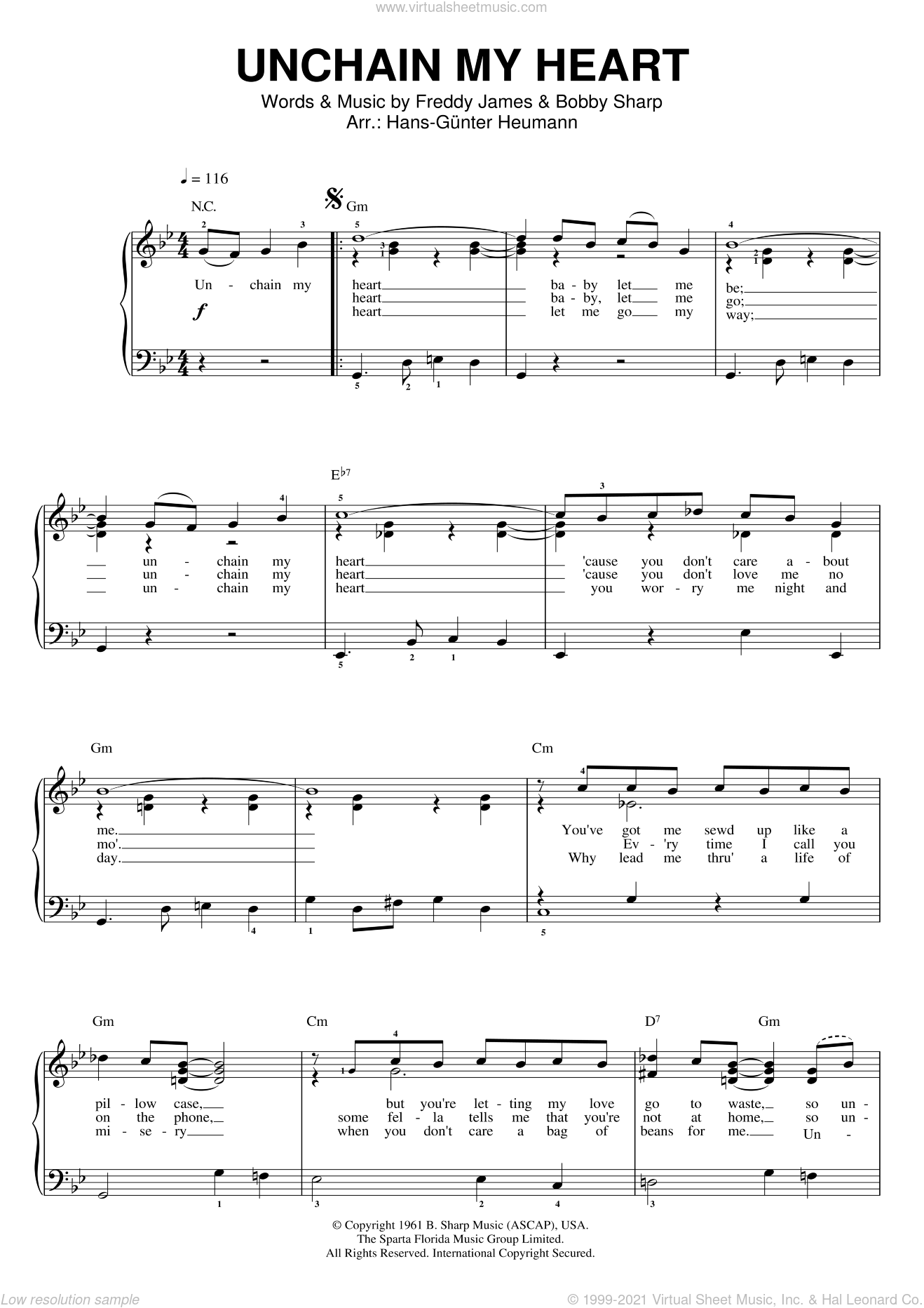 Unchain My Heart sheet music for voice and piano by Joe Cocker, Bobby Sharp and Teddy Powell, intermediate skill level