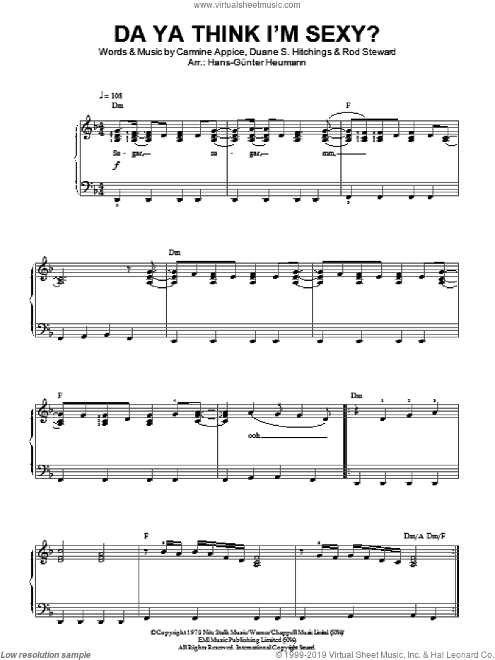 Do Ya Think I'm Sexy? sheet music for piano solo by Rod Stewart