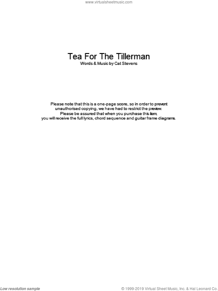 Tea For The Tillerman sheet music for guitar (chords) by Cat Stevens. Score Image Preview.