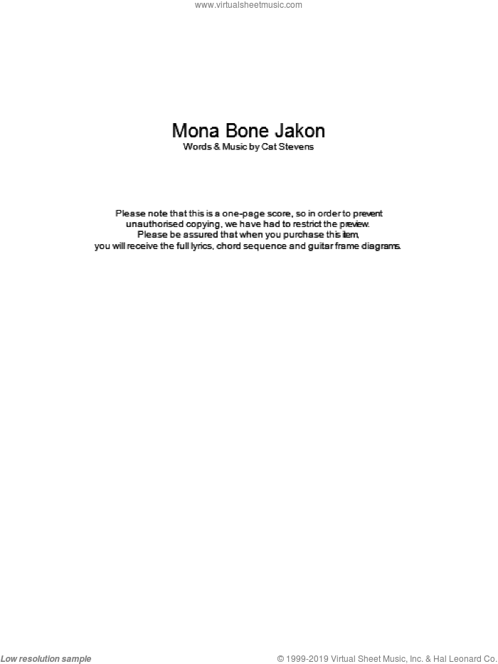 Mona Bone Jakon sheet music for guitar (chords) by Cat Stevens, intermediate guitar (chords). Score Image Preview.