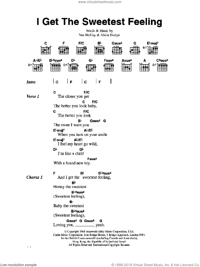 I Get The Sweetest Feeling sheet music for guitar (chords) by Jackie Wilson, Alicia Evelyn and Van McCoy, intermediate skill level