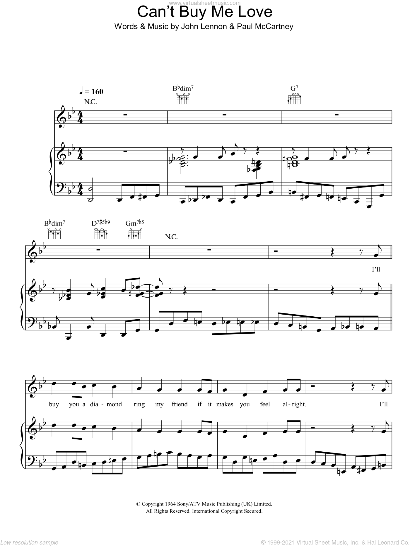 Can't Buy Me Love sheet music for voice, piano or guitar by Michael Buble, John Lennon and Paul McCartney, intermediate skill level