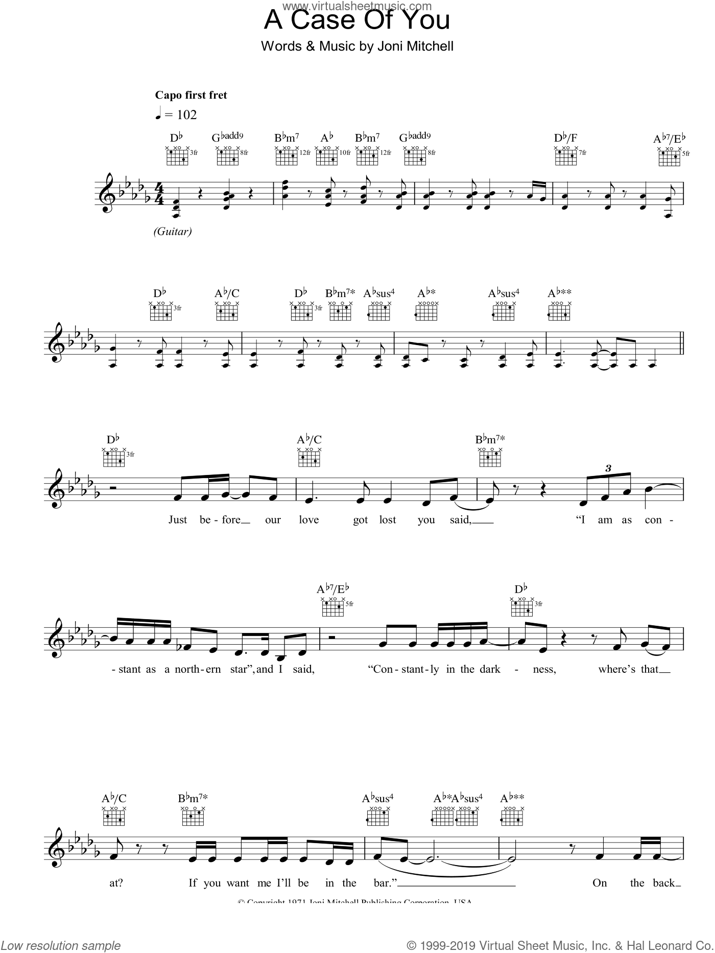 A Case Of You sheet music for voice and other instruments (fake book) by Joni Mitchell. Score Image Preview.
