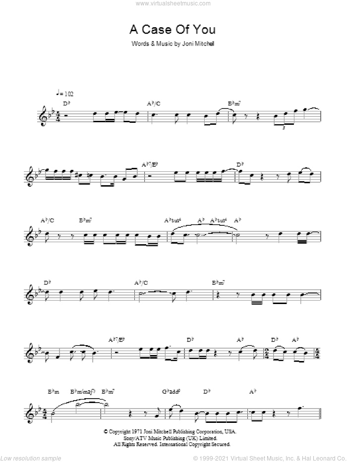 A Case Of You sheet music for voice and other instruments (fake book) by Joni Mitchell, intermediate skill level