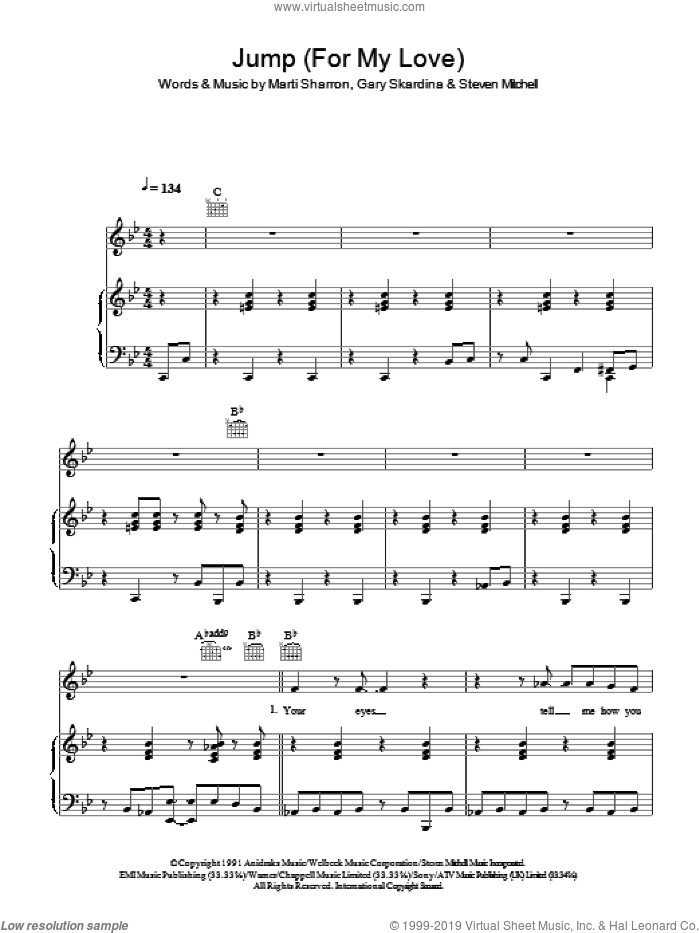 Jump (For My Love) sheet music for voice, piano or guitar by Gary Skardina, Girls Aloud and Marti Sharron