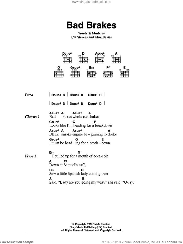 Bad Brakes sheet music for guitar (chords) by Alun Davies and Cat Stevens. Score Image Preview.