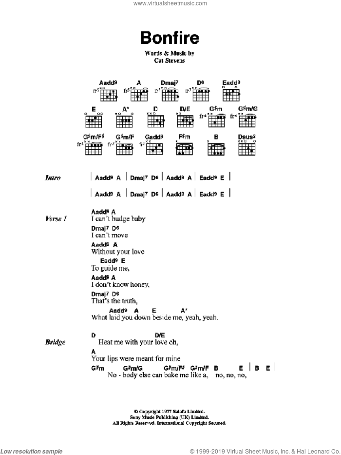 Bonfire sheet music for guitar (chords) by Cat Stevens. Score Image Preview.