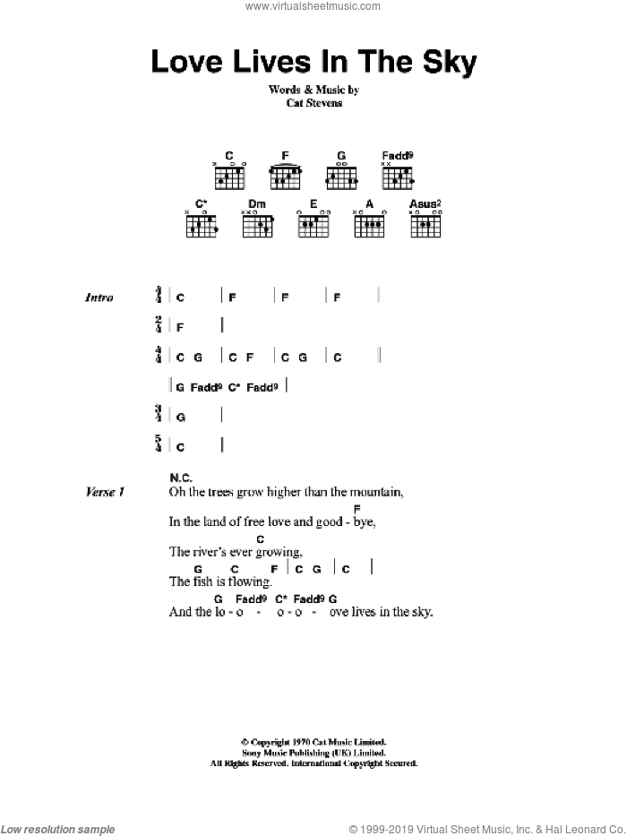 Love Lives In The Sky sheet music for guitar (chords) by Cat Stevens, intermediate guitar (chords). Score Image Preview.