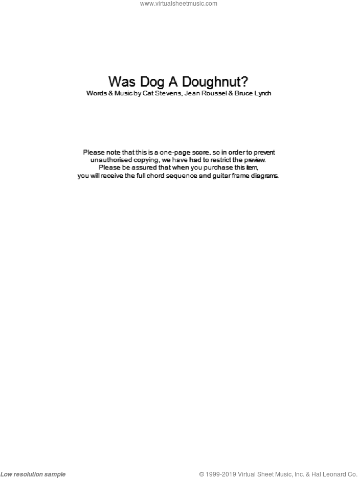 Was Dog A Doughnut? sheet music for guitar (chords) by Cat Stevens, intermediate guitar (chords). Score Image Preview.