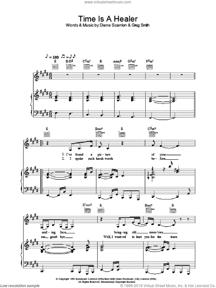 Time Is A Healer sheet music for voice, piano or guitar by Eva Cassidy. Score Image Preview.