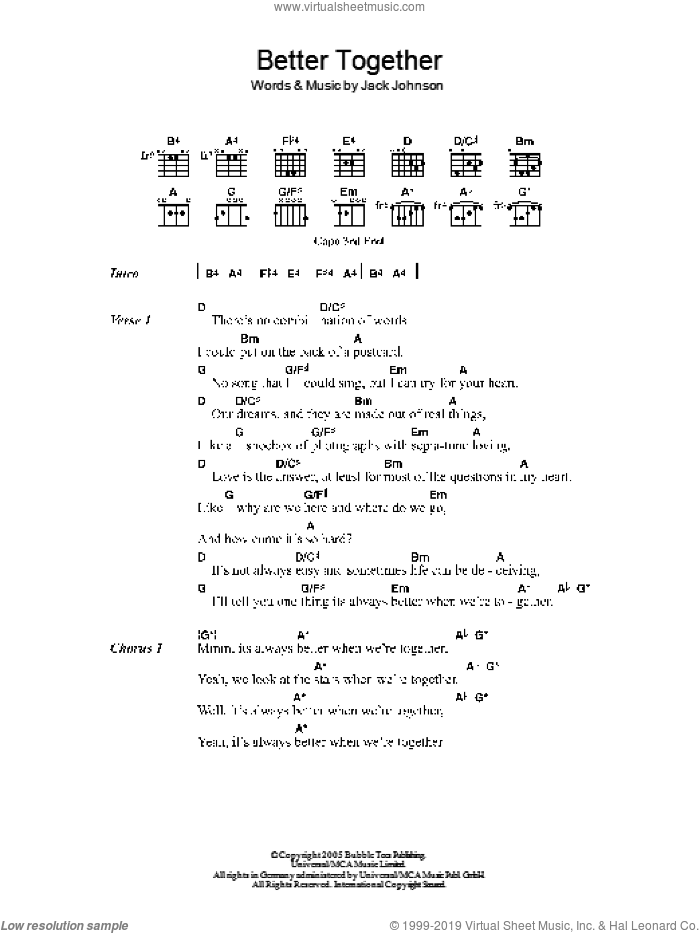 Better Together sheet music for guitar (chords) by Jack Johnson. Score Image Preview.