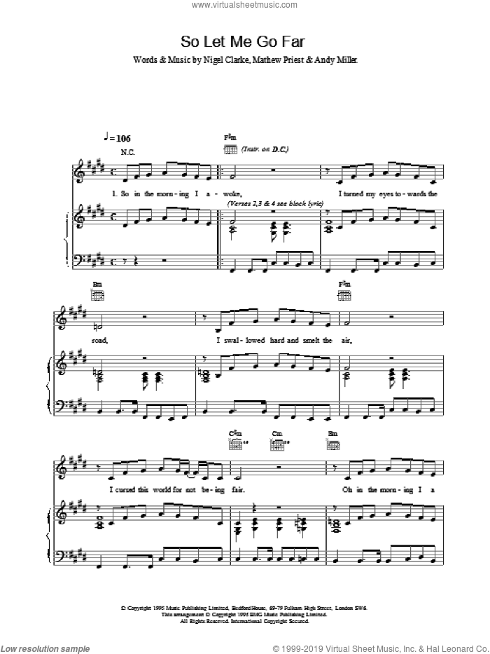 So Let Me Go Far sheet music for voice, piano or guitar by Dodgy. Score Image Preview.