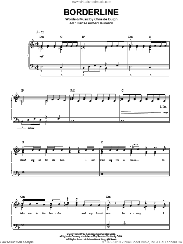 Borderline sheet music for piano solo by Chris de Burgh