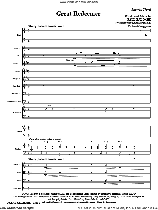 Great Redeemer (COMPLETE) sheet music for orchestra by Paul Baloche and Richard Kingsmore, intermediate. Score Image Preview.