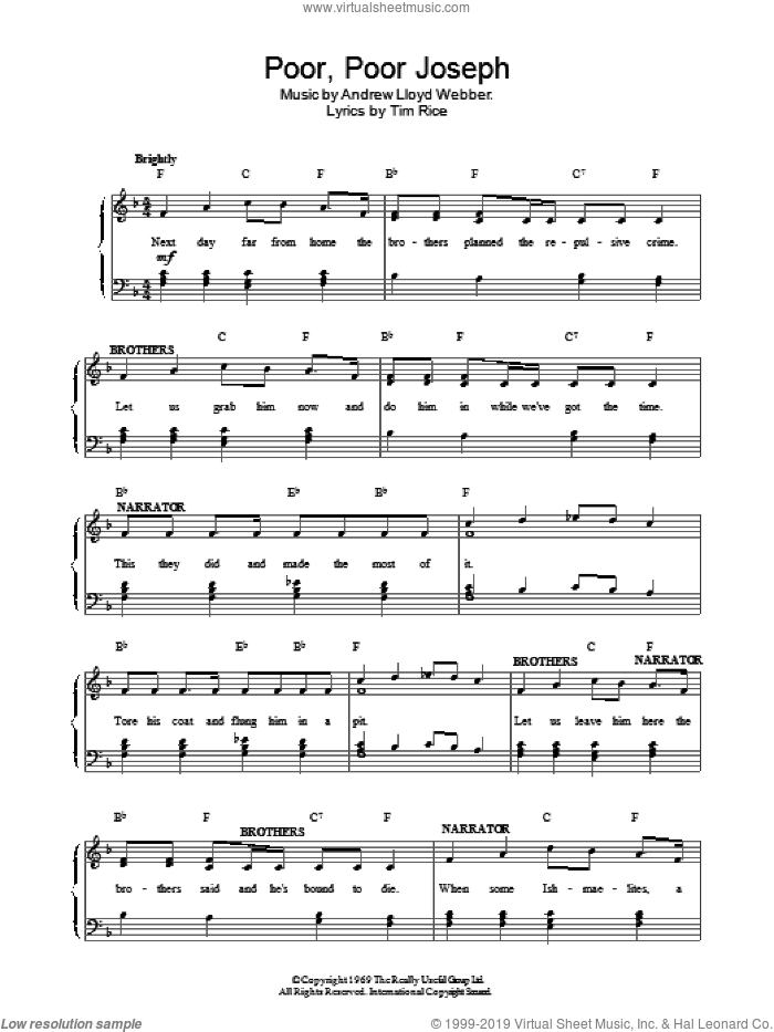 Poor Poor Joseph sheet music for voice, piano or guitar by Andrew Lloyd Webber. Score Image Preview.