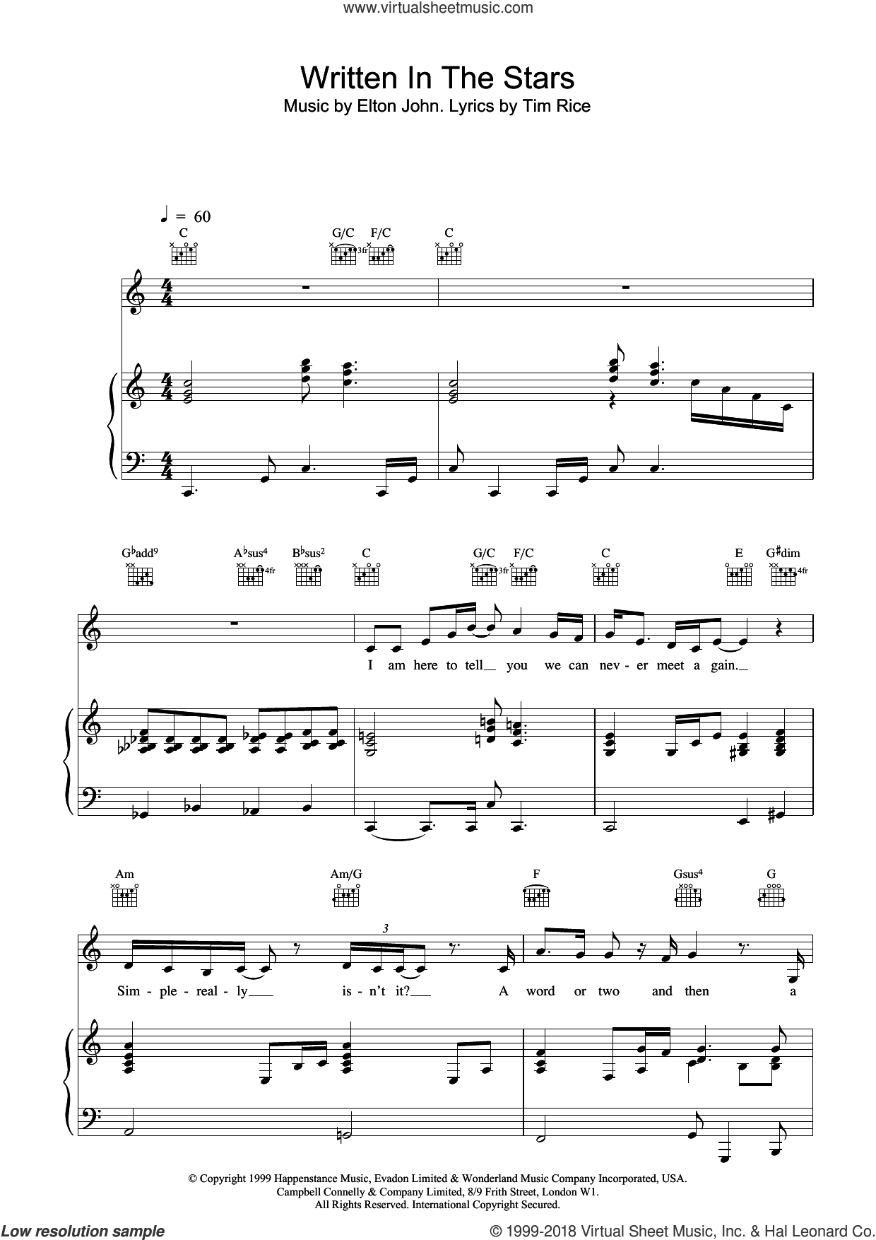 Written In The Stars sheet music for voice, piano or guitar by Elton John, LeAnn Rimes and Tim Rice, intermediate skill level