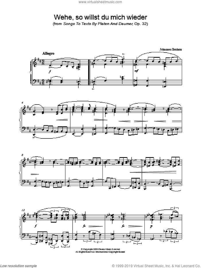 Wehe, so willst du mich wieder (from Songs To Texts By Platen And Daumer, Op. 32) sheet music for piano solo by Johannes Brahms. Score Image Preview.