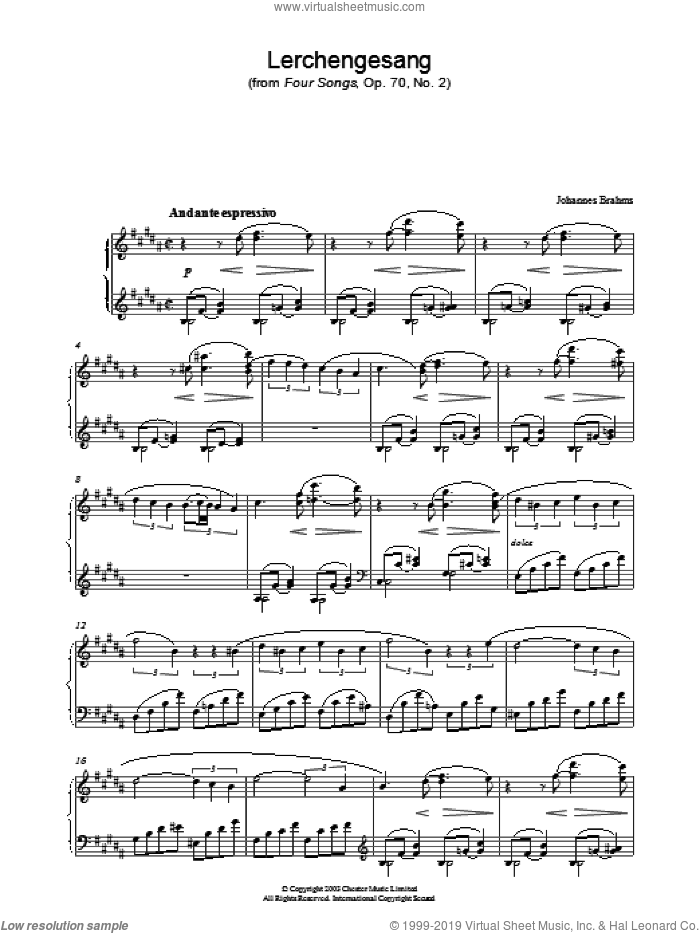 Lerchengesang (from Four Songs, Op. 70, No. 2) sheet music for piano solo by Johannes Brahms, classical score, intermediate skill level