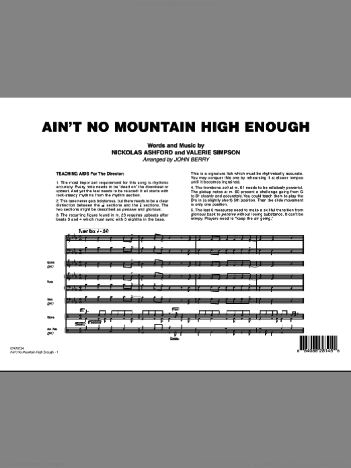 Ain't No Mountain High Enough (COMPLETE) sheet music for jazz band by Nickolas Ashford, Valerie Simpson and John Berry, intermediate skill level