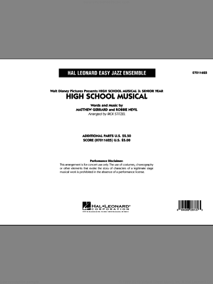 High School Musical (from 'High School Musical 3: Senior Year') (COMPLETE) sheet music for jazz band by Matthew Gerrard, Robbie Nevil and Rick Stitzel, intermediate skill level
