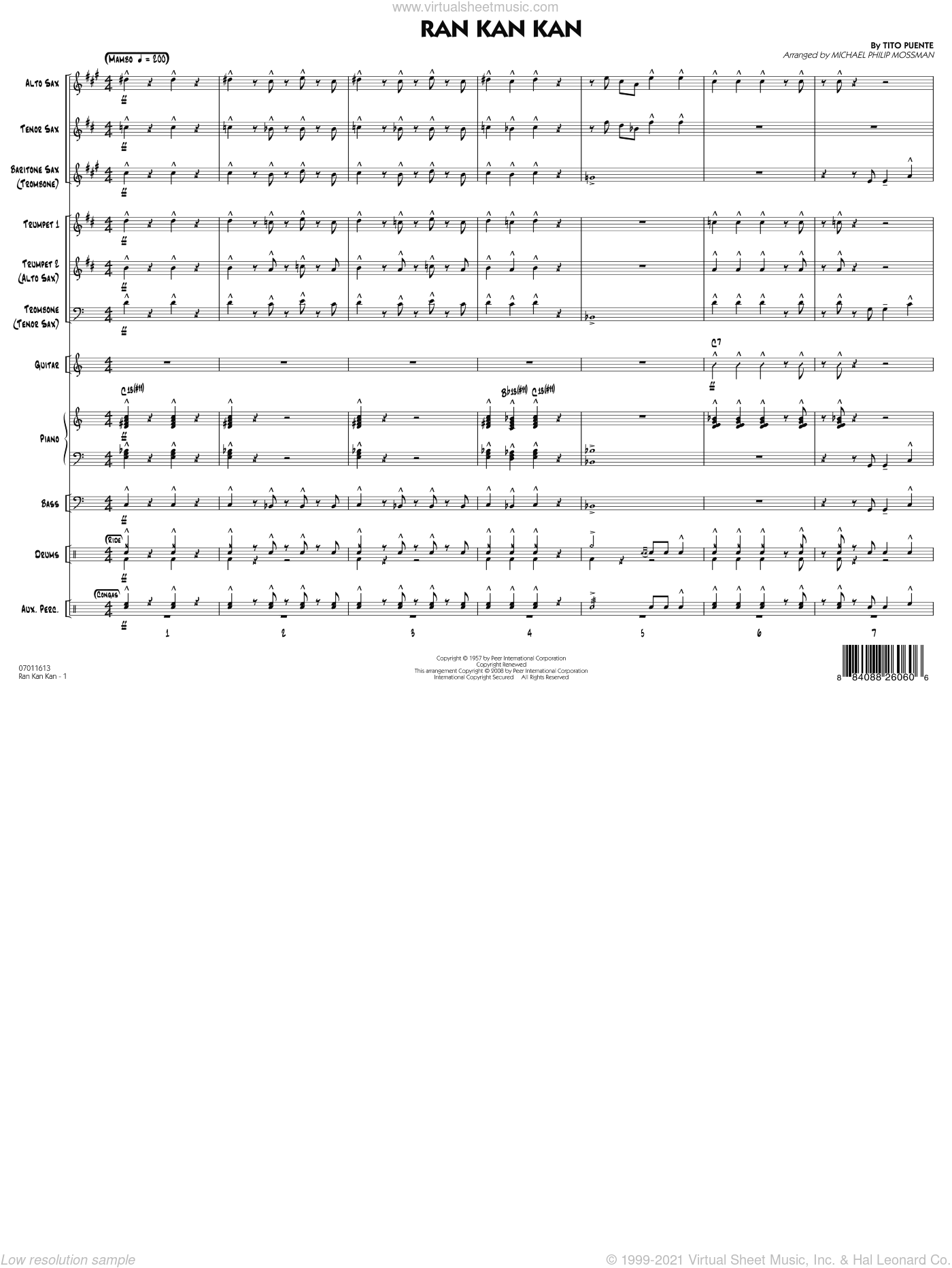 Ran Kan Kan sheet music for jazz band (full score) by Michael Philip Mossman