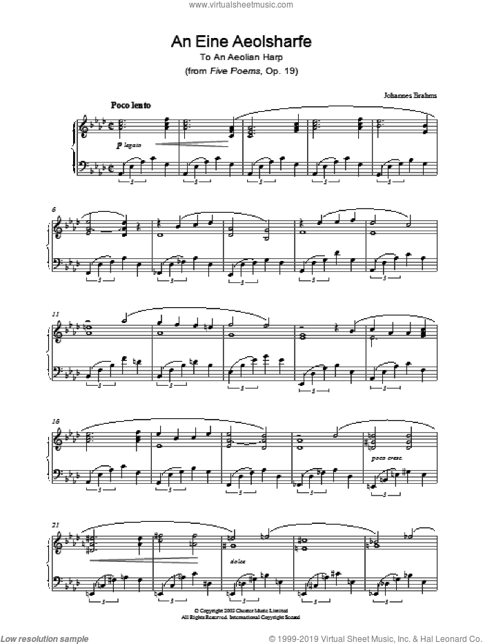 An Eine Aeolsharfe (from Five Poems, Op. 19) sheet music for piano solo by Johannes Brahms, classical score, intermediate piano. Score Image Preview.