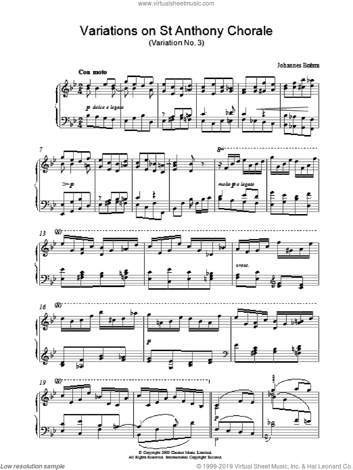 Variations on St Anthony Chorale (Variation No. 3) sheet music for piano solo by Johannes Brahms, classical score, intermediate