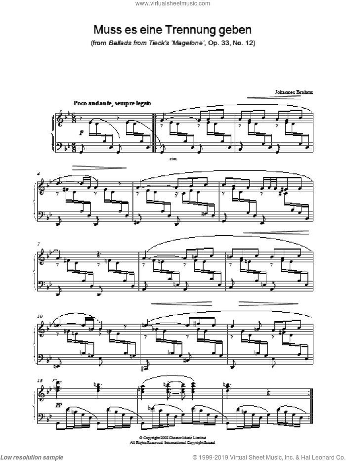 Muss es eine Trennung geben (from Ballads from Tieck's 'Magelone', Op. 33, No. 12) sheet music for piano solo by Johannes Brahms. Score Image Preview.