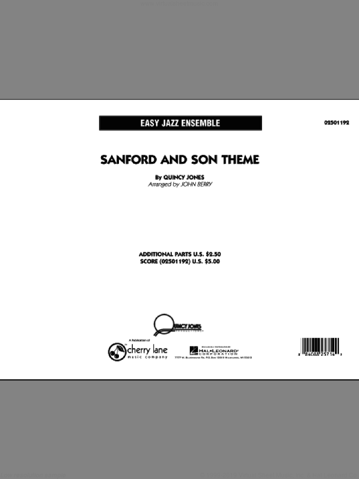 Sanford and Son Theme (COMPLETE) sheet music for jazz band by Quincy Jones and John Berry, intermediate. Score Image Preview.