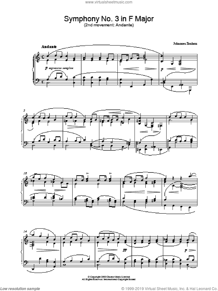 Symphony No. 3 in F Major (2nd movement: Andante) sheet music for piano solo by Johannes Brahms, classical score, intermediate skill level