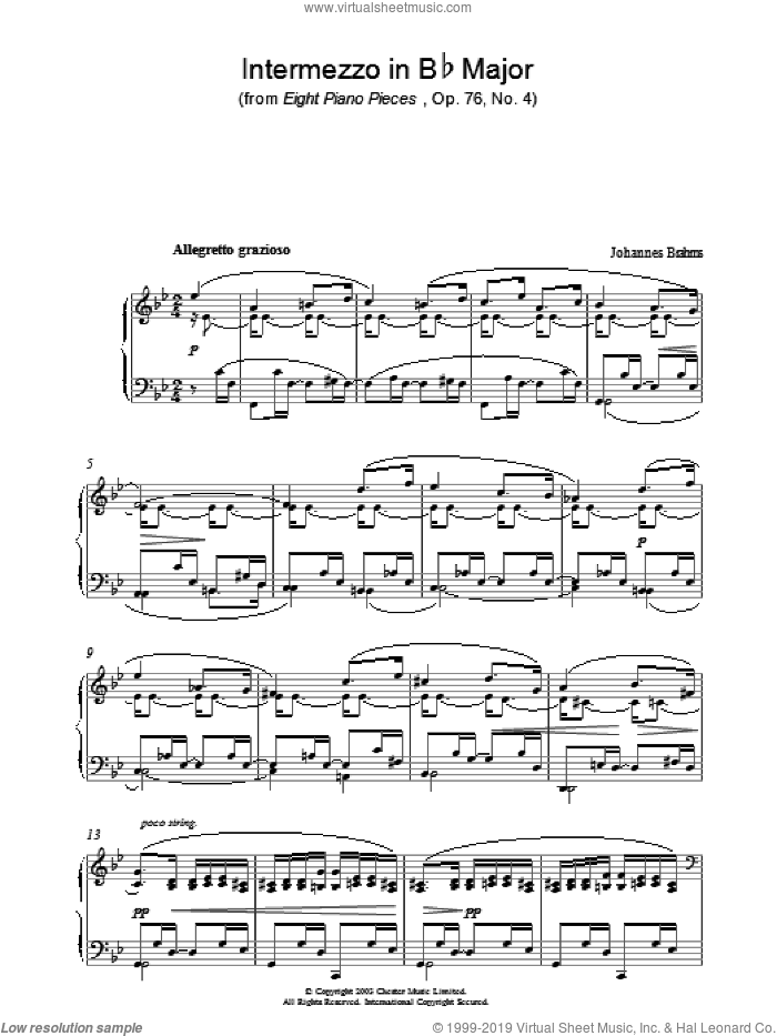 Intermezzo in Bb Major (from Eight Piano Pieces, Op. 76, No. 4) sheet music for piano solo by Johannes Brahms. Score Image Preview.