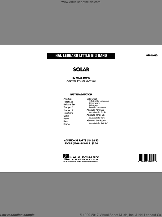 Solar (COMPLETE) sheet music for jazz band by Miles Davis